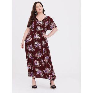 Torrid Red Wine Floral Gauze Maxi Dress